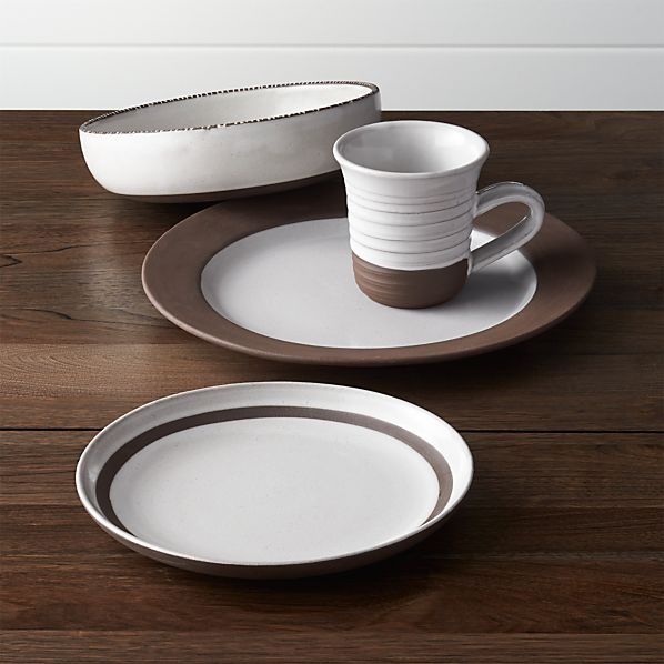studio dark clay 4 piece placesetting in studio dinnerware