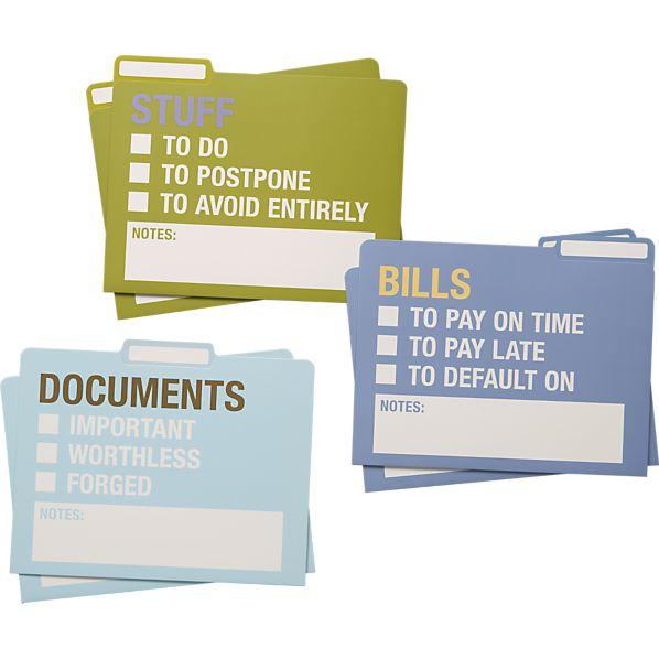 Set of 6 Stuff File Folders