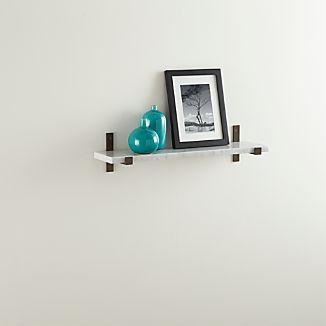"Styles 24"" Marble Shelf with Bronze Brackets"