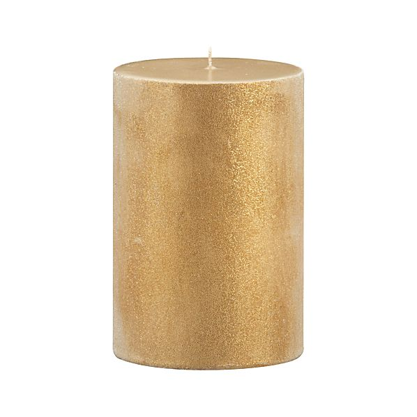 "Sugar Frost Gold 4""x6"" Pillar Candle"