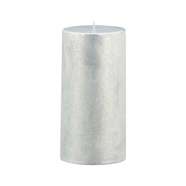 "Sugar Frost Silver 3""x6"" Pillar Candle"
