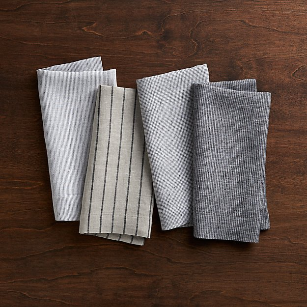 Set Of 4 Suits Linen Cloth Dinner Napkins Crate And Barrel