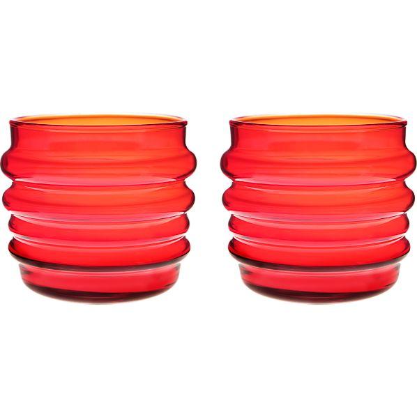 Set of 2 Marimekko Sukat Makkaralla Red Glasses
