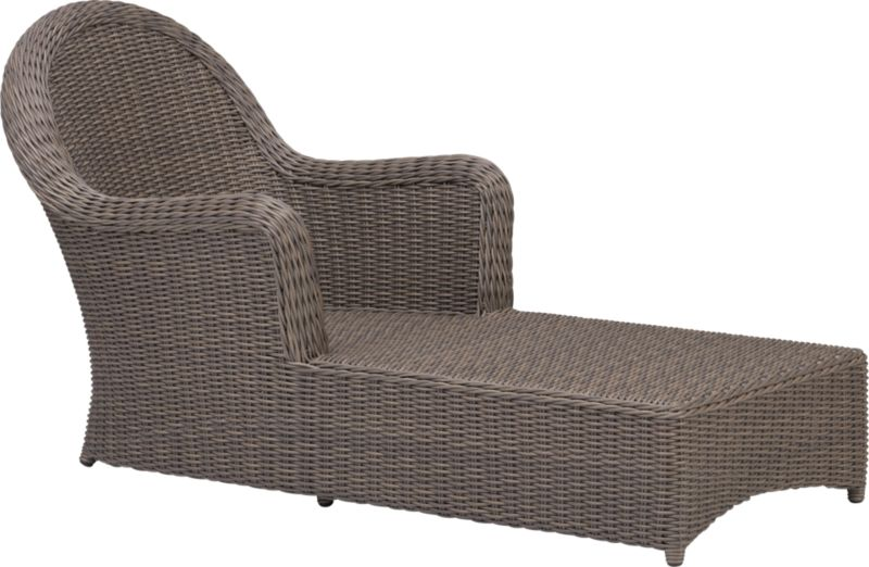 Front porch charm in handwoven all-weather resin with the natural look of wicker. Luxurious chaise is finished a tonal kubu grey that captures the true patina of wicker. Summerlin dining collection also available.<br /><br /><NEWTAG/><ul><li>Resin wicker</li><li>Aluminum frame with powdercoat finish</li><li>Powdercoat finish</li></ul>