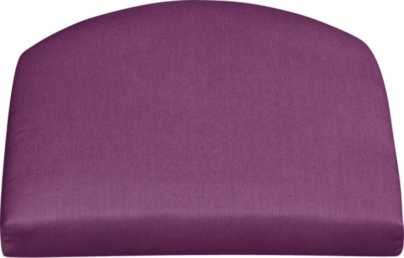 Arm chair cushion is fade- and mildew-resistant Sunbrella acrylic in vibrant phlox.<br /><br />After you place your order, we will send a fabric swatch via next day air for your final approval. We will contact you to verify both your receipt and approval of the fabric swatch before finalizing your order.<br /><br /><NEWTAG/><ul><li>100% solution-dyed acrylic with poly wrapped foam fill</li><li>Spot clean</li><li>Made in USA</li></ul>