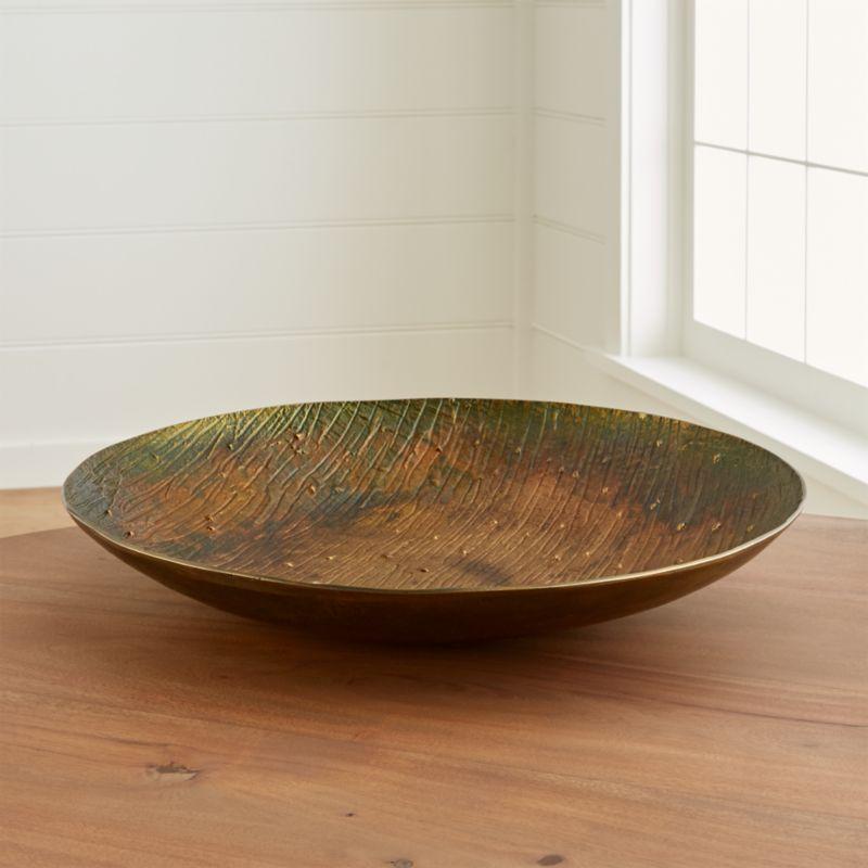 sunset patina bronze centerpiece bowl aluminum crate barrel