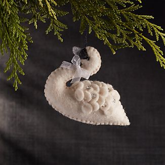Swan with Sequins Felt Ornament