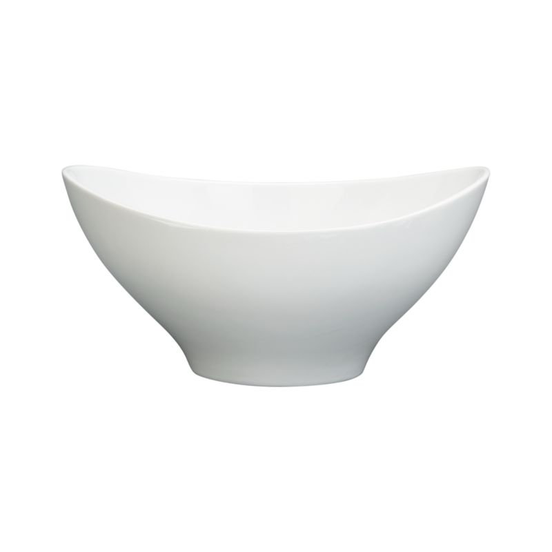 Swooping oval of white porcelain throws a curve at classic whiteware. Versatile, generous bowl combines contemporary restaurant-style presentation with chip-resistant, easy-clean durablity.<br /><br /><NEWTAG/><ul><li>Porcelain</li><li>Dishwasher-, microwave- and oven-safe</li><li>Made in China</li></ul>