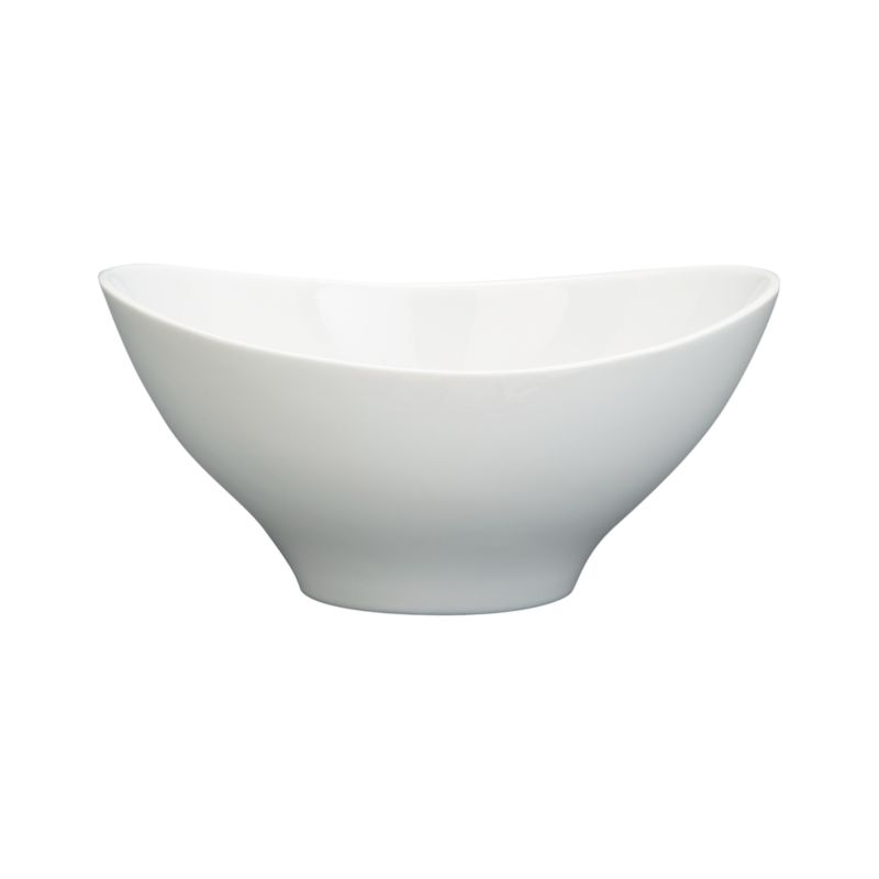 Swooping oval of white porcelain throws a curve at classic whiteware. Versatile, generous bowl combines contemporary restaurant-style presentation with chip-resistant, easy-clean durability.<br /><br /><NEWTAG/><ul><li>Porcelain</li><li>Dishwasher-, microwave- and oven-safe</li><li>Made in China</li></ul>