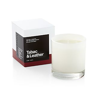 A flicker of fragrance to renew home and spirit. Our exclusive collection of handpoured, soy-blend candles brings together unique scent pairings to express your style and mood. The nuanced sweetness of tobacco and the musky organic character of leather mingle with essences of resin, coriander, white amber, freesia, cashmere wood and vanilla bean.Glass containerSoy-based wax with fragranceHandpoured in Starkville, MSBurn time: 30 hoursMade in multiple countries