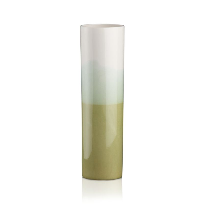 Sleek earthenware column rises in graduated layers of translucent greens, hand-dipped in a painterly melding of watercolor hues. Stand solo or in pairs for a contemporary display of clean form and serene color.<br /><br /><NEWTAG/><ul><li>Handcrafted</li><li>Earthenware</li><li>Hand wash</li><li>Not recommended for use with water</li><li>Made in Portugal</li></ul>