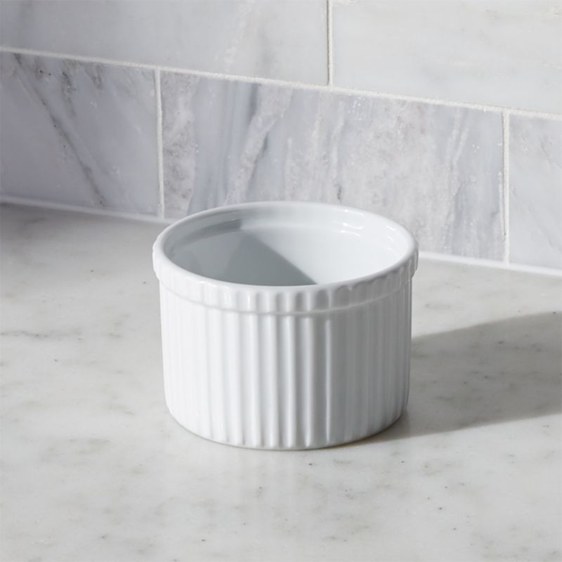 Durable, ribbed white porcelain adds classic style to a variety of foods. Tall ramekin can be used to bake individual desserts, serve snacks or pre-measure cooking ingredients—the uses are endless.<br /><br /><NEWTAG/><ul><li>Durable white porcelain</li><li>Oven to table</li><li>Dishwasher-, microwave-, oven-, broiler- and freezer-safe</li><li>Made in Vietnam</li></ul>