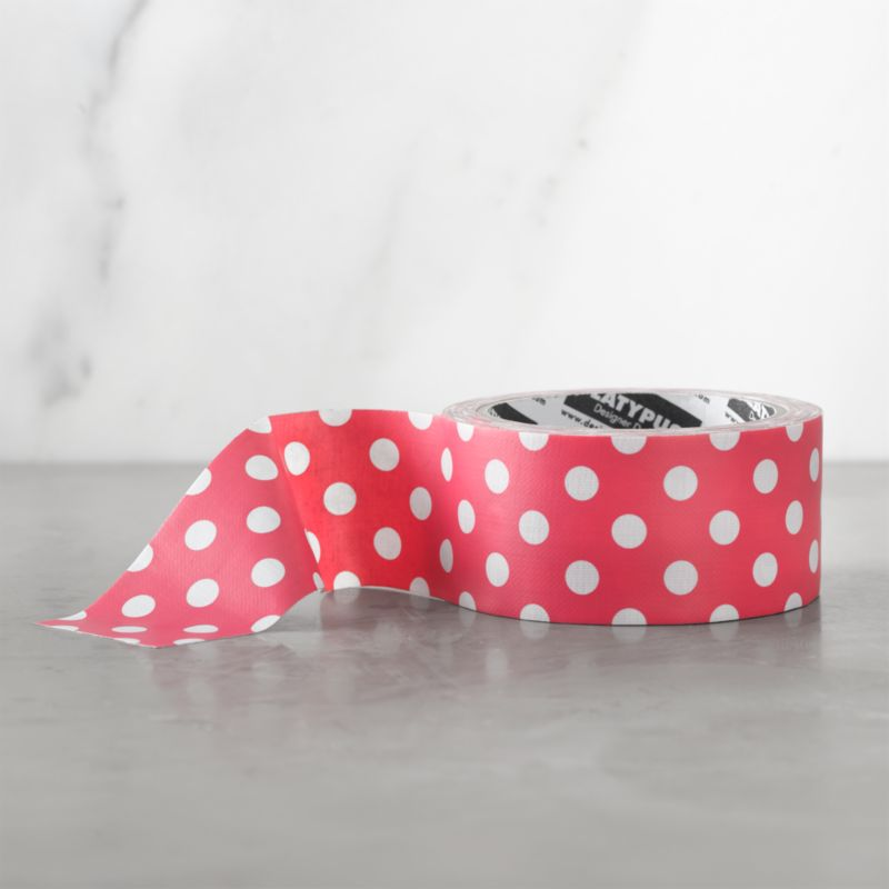 With graphic variation on the classic, the tape becomes part of the packaging or brightens craft projects and repairs. Broad duct tape in pink and white polka dot is crafted to tear by hand, and appears seamless both horizontally and vertically.<br /><br /><NEWTAG/><ul><li>Hot-melt adhesive, plastic film and cotton backing</li><li>Made in China</li></ul>