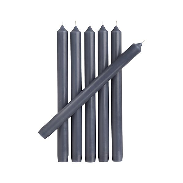 Set of 6 Blue Taper Candles