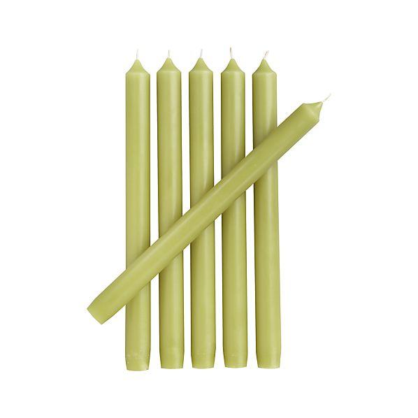 Set of 6 Green Taper Candles