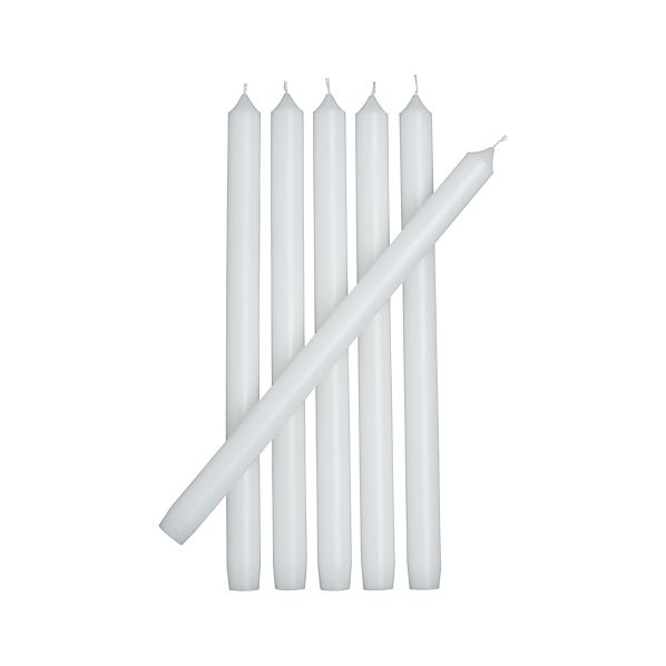 Set of 6 White Taper Candles