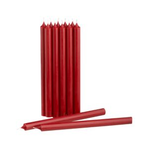 Set of 12 Cranberry Taper Candles