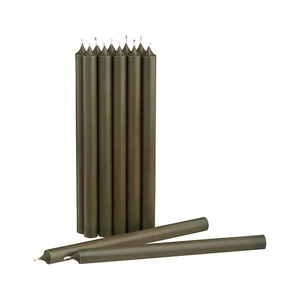 Set of 12 Green Taper Candles