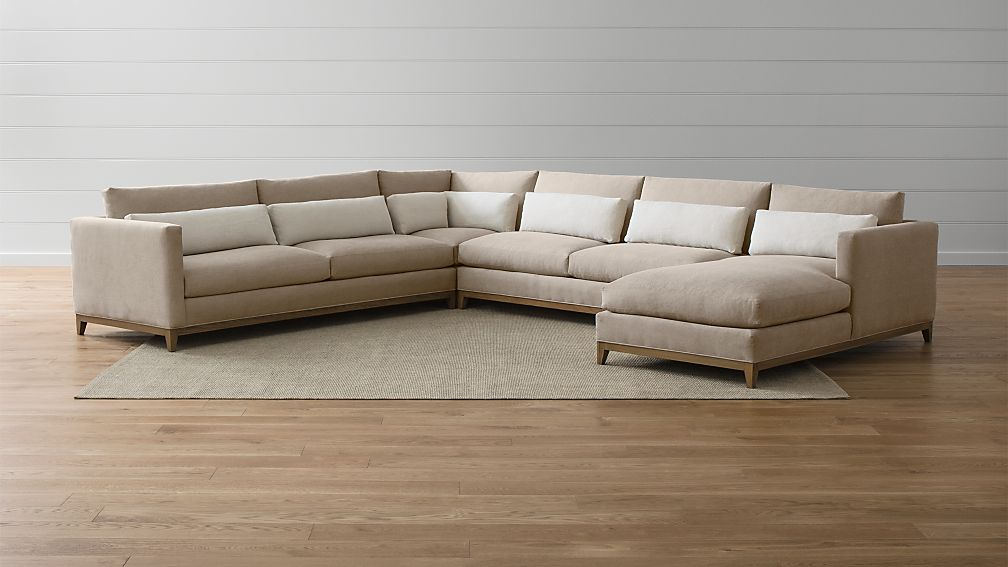 Taraval 4-Piece Sectional with Oak Base