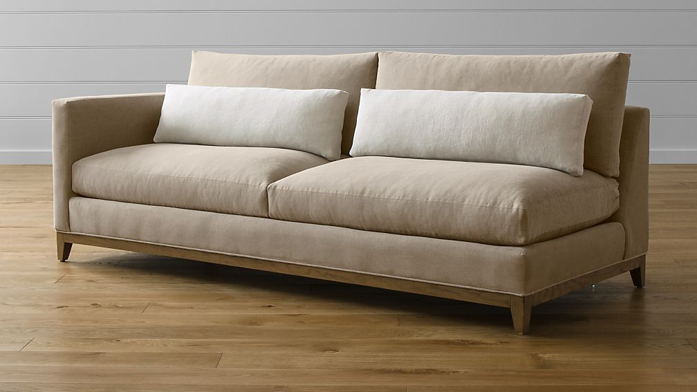 Taraval Left Arm Sofa With Oak Base Tote Putty Crate