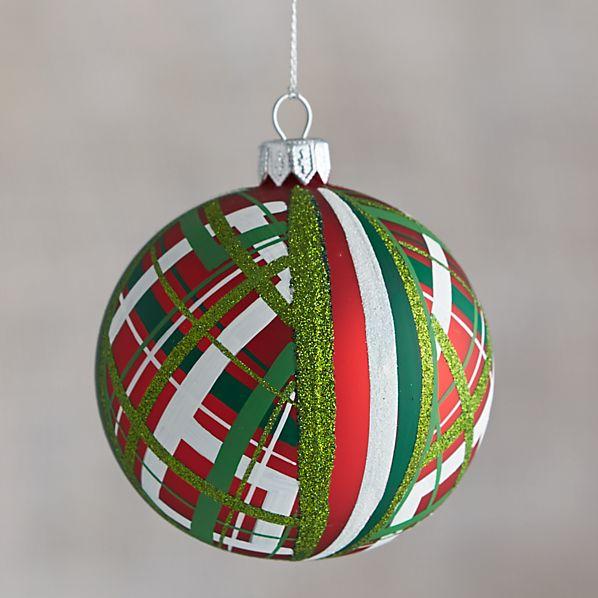 Red Tartan Glitter Ball Ornament