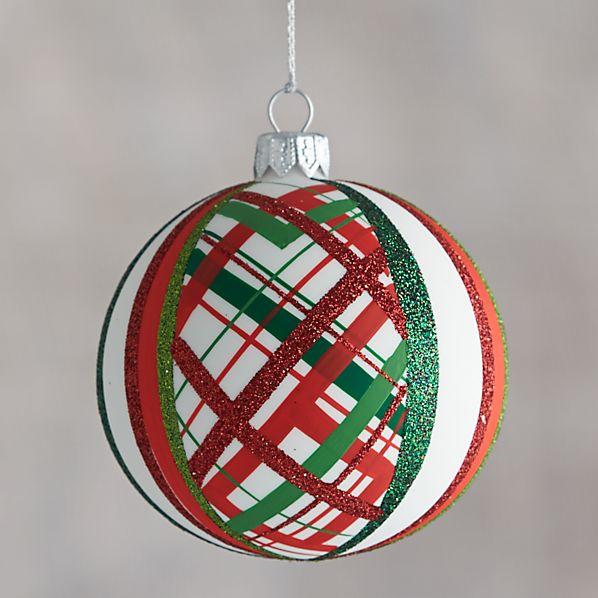 White Tartan Glitter Ball Ornament