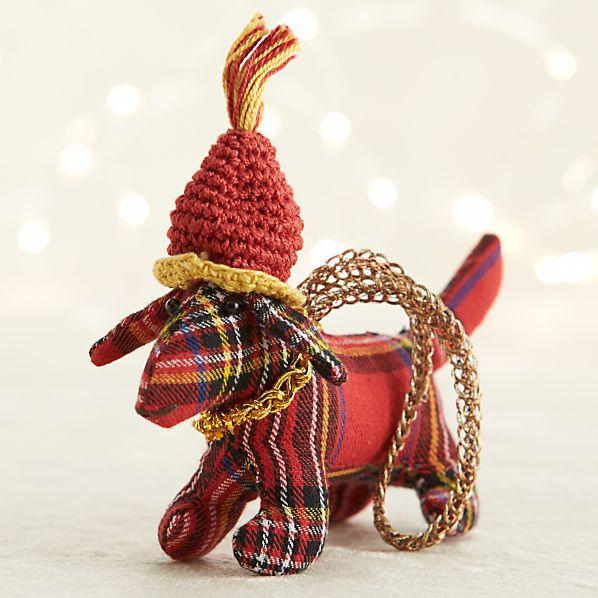 Red Tartan Plaid Dog Ornament