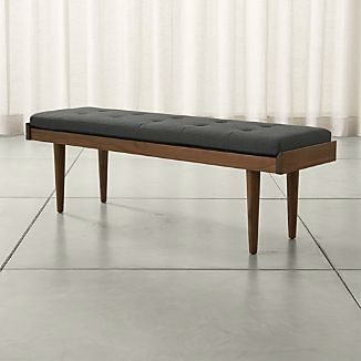 Tate Walnut Slatted Bench with Charcoal Cushion