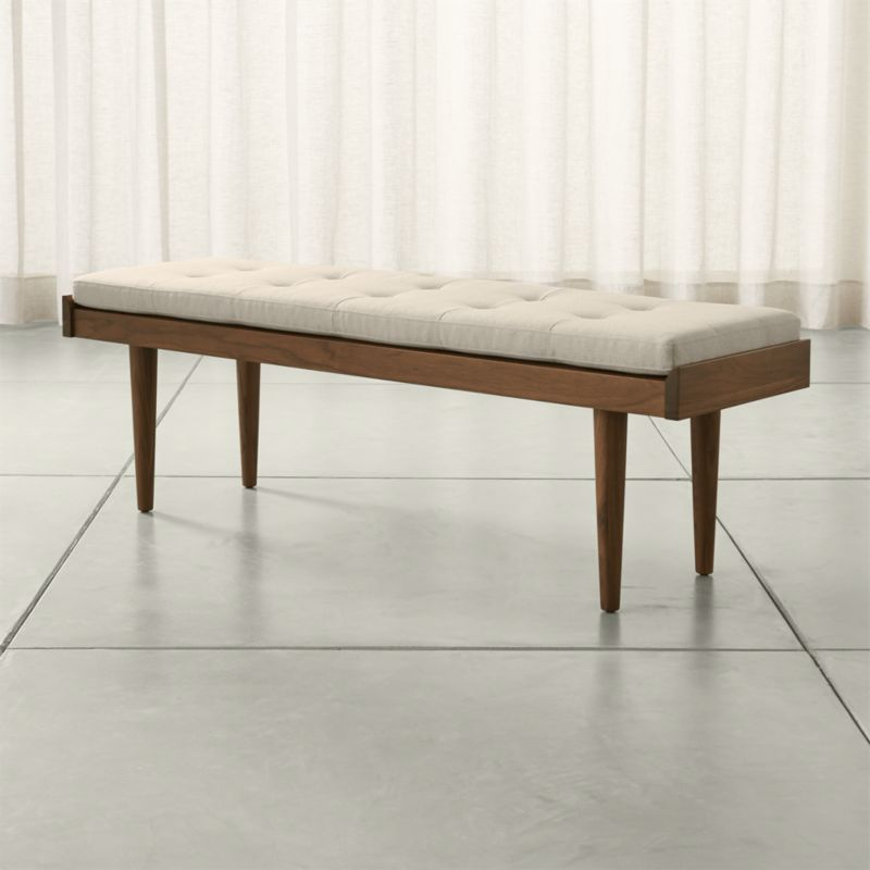 Tate Walnut Slatted Bench With Linen Cushion Crate And