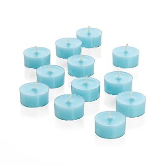 Twelve tealights in pretty pastel aqua add bit of spring to the table.