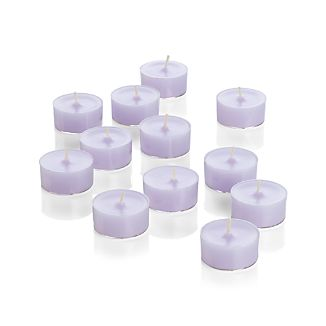 Twelve tealights in pretty pastel lavender add bit of spring to the table.