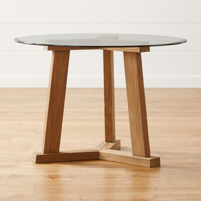 """Teak Reclaimed Wood Dining Table with 42"""" Round Glass Top"""