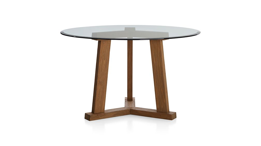 """Round Glass Dining Table 48 Inches: Teak Reclaimed Wood Dining Table With 42"""" Round Glass Top"""