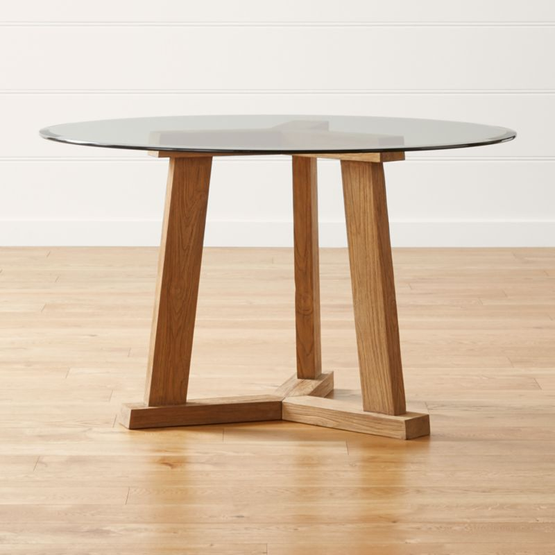 """Teak Reclaimed Wood Dining Table with 48"""" Round Glass Top"""