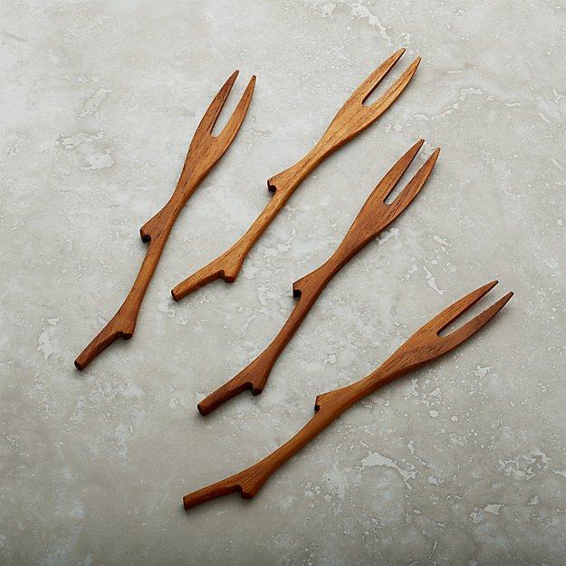 Set of 4 Teak Branch Forks