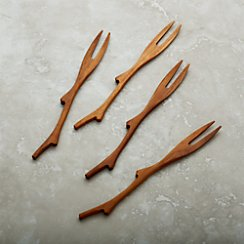 Set of 4 Teak Branch Forks