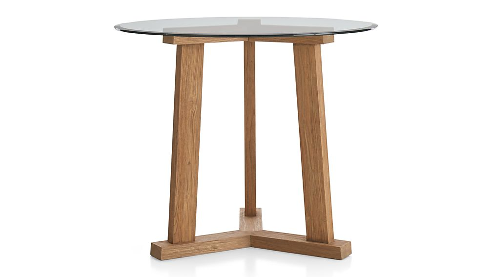 Teak Reclaimed Wood High Dining Table With 42 Round Glass Top Crate