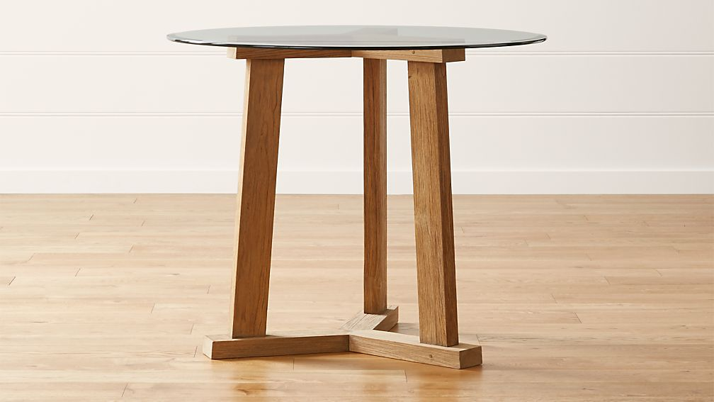 """Teak Reclaimed Wood High Dining Table with 42"""" Round Glass Top"""