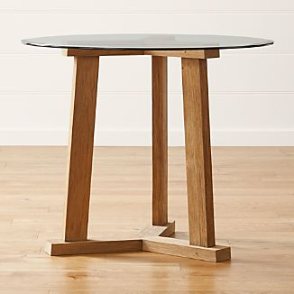 "Teak Reclaimed Wood High Dining Table with 42"" Round Glass Top"