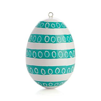 Hand Painted Teal Circles Easter Egg