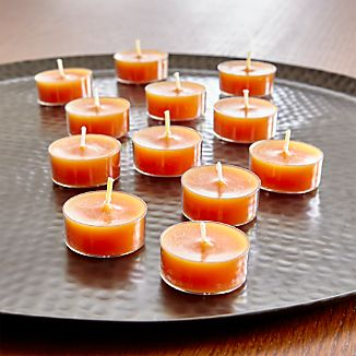 Whether tucked in a tea light candle holder or lined down the table, our unscented orange-colored tealight candles are multi-purpose must-haves for fall entertaining. Clear cups prevent dripping.