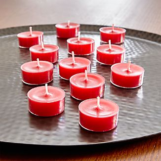 Whether tucked in a candle holder or lined down the table, our red-colored tealight candles are multi-purpose must-haves for fall entertaining. Clear cups prevent dripping.