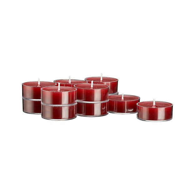 Set of 12 Clear-Cupped Cranberry Tea Lights