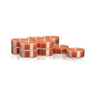 Set of 12 Clear-Cupped Orange Tea Lights