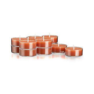 Set of 12 Clear-Cupped Orange Tea Lights