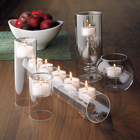 Clear-Cupped White Tealight Candles Set...