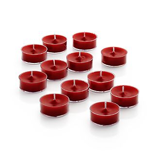 Set of 12 Clear-Cupped Red Tea Lights