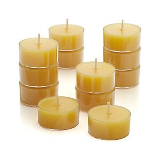 Set of 12 Clear-Cupped Yellow Tea Lights