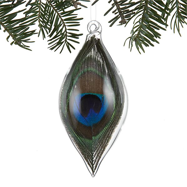 Teardrop Ornament Small with Peacock Feather