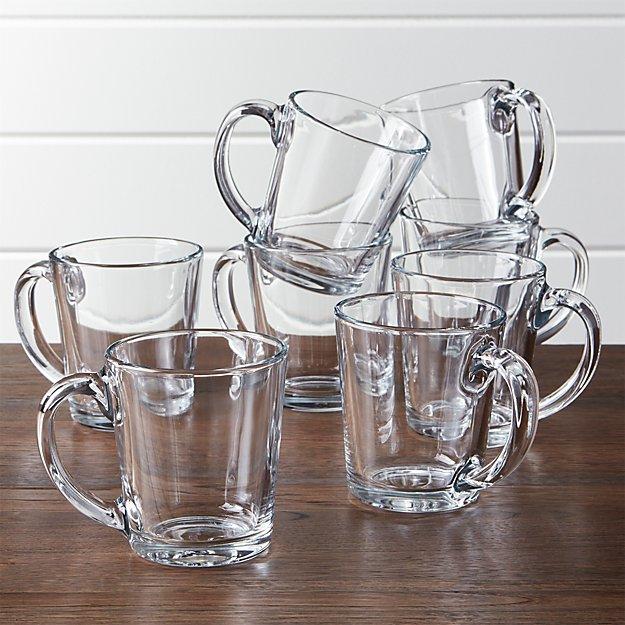 Tempo Clear Glass Coffee Mug Set of 8